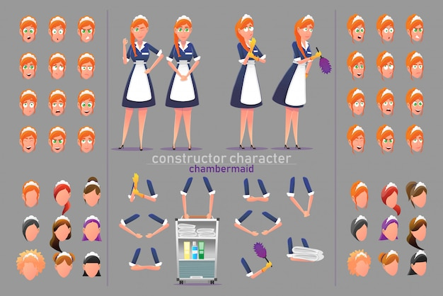 Constructor character chambermaid woman poses.