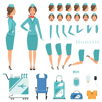 Constructor characters of stewardess.