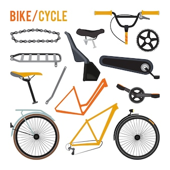 Constructor of different bicycle parts and equipment set