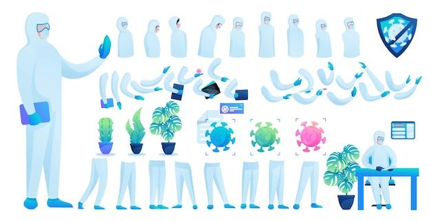 Конструктор для создания доктора в защитном костюме № 7. создайте собственного доктора для борьбы с эпидемией. плоские 2d векторные иллюстрации.