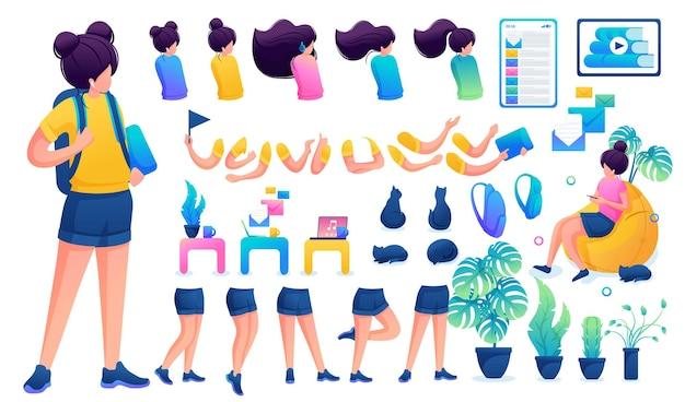 Конструктор для создания юной девочки-подростка. создайте своего собственного красивого персонажа-девушки с набором рук и ног. плоские 2d векторные иллюстрации n1.