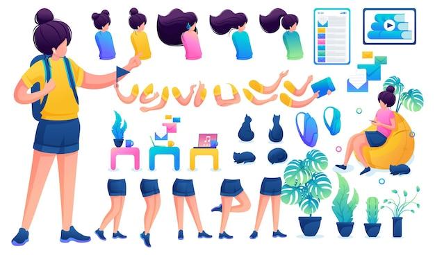 Конструктор для создания юной девочки-подростка. создайте своего собственного красивого персонажа-девушки с набором рук и ног. плоская 2d векторная иллюстрация n2.