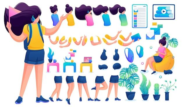 Конструктор для создания юной девочки-подростка. создайте своего собственного красивого персонажа-девушки с набором рук и ног. плоская 2d векторная иллюстрация n3.
