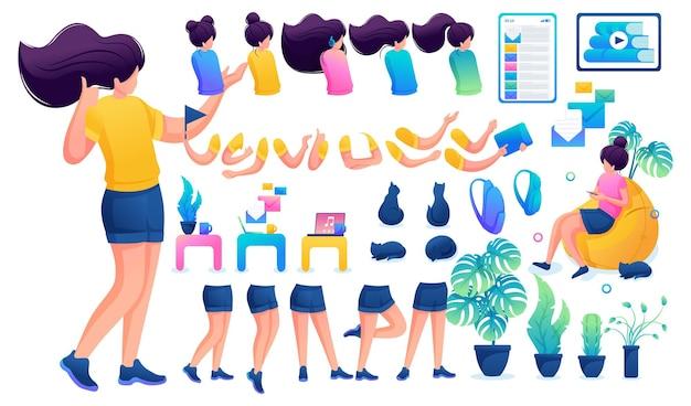 Конструктор для создания юной девочки-подростка. создайте своего собственного красивого персонажа-девушки с набором рук и ног. плоская 2d векторная иллюстрация n4.