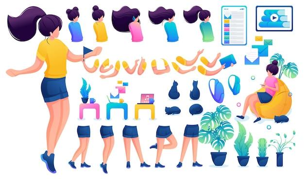 Конструктор для создания юной девочки-подростка. создайте своего собственного красивого персонажа-девушки с набором рук и ног. плоская 2d векторная иллюстрация n5.