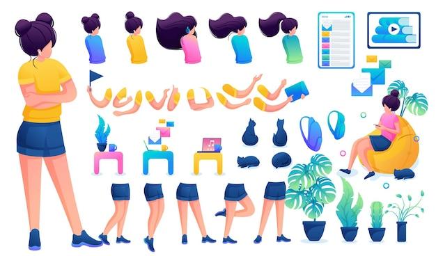 Конструктор для создания юной девочки-подростка. создайте своего собственного красивого персонажа-девушки с набором рук и ног. плоская 2d векторная иллюстрация n6.