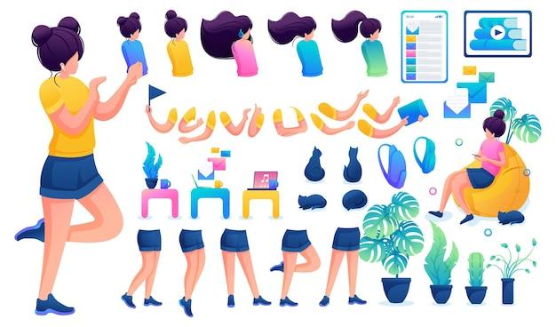 Конструктор для создания юной девочки-подростка. создайте своего собственного красивого персонажа-девушки с набором рук и ног. плоская 2d векторная иллюстрация n7.