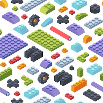 Constructor kids isometric seamless pattern. creativity tiles and parts assembly geometric toy models colored strips various shapes childrens wide narrow constructor developmental.