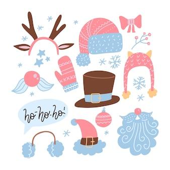 クリスマスキャラクターの顔のコンストラクタ。トナカイの角、帽子、口ひげ、あごひげ、帽子でサンタクロースの顔を作ります。あなたのサンタ人を作るのは簡単です。ユーモアクリスマス、新年。フラットセット
