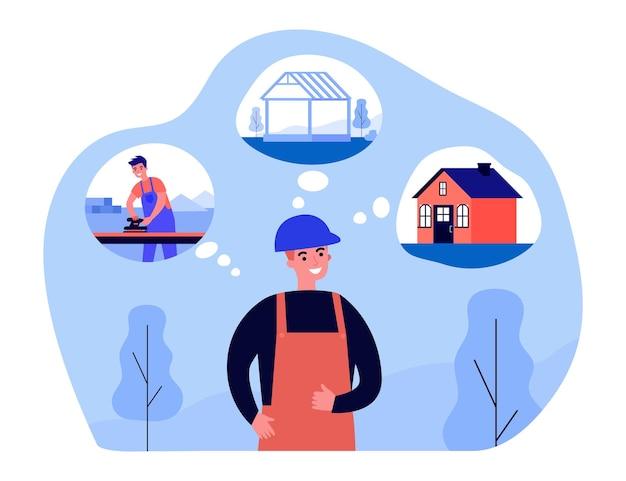 집을 짓는 단계에 대해 생각하는 생성자. 헬멧 계획 작업 과정 평면 벡터 일러스트 레이 션에 남자입니다. 엔지니어, 배너, 웹 사이트 디자인 또는 방문 웹 페이지에 대한 건설 개념