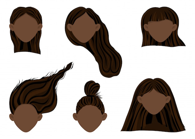 Constructor with dark-skinned female heads with different hairstyles