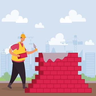 Constructor worker with bricks wall character scene vector illustration design
