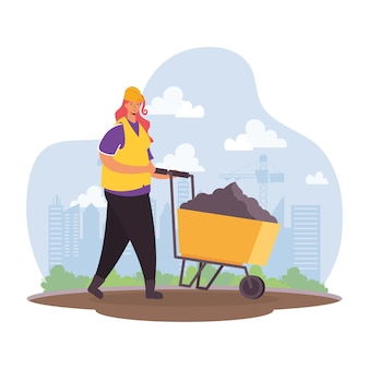 Constructor worker with wheelbarrow character scene vector illustration design