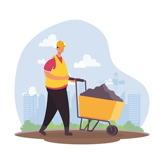 Constructor worker with wheelbarrow character vector illustration design