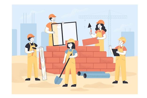 Строители в едином здании дома плоской иллюстрации