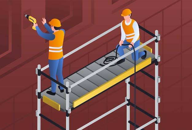 Constructors on scaffold illustration, isometric style