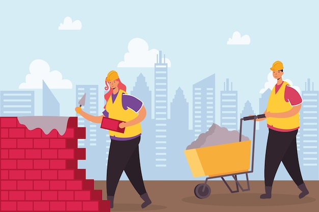 Constructors workers with wall and wheelbarrow characters scene vector illustration design
