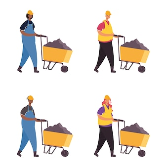 Constructors workers with wheelbarrows characters