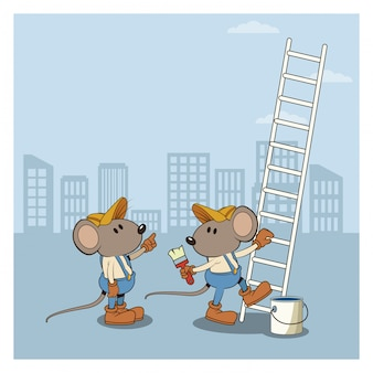 Under constrution mouses workers cartoons