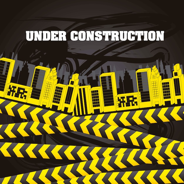 Under constrution with buildings and yellow tapes vector illustration
