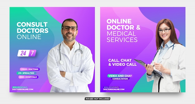 Consult doctors online advertising social media post templates