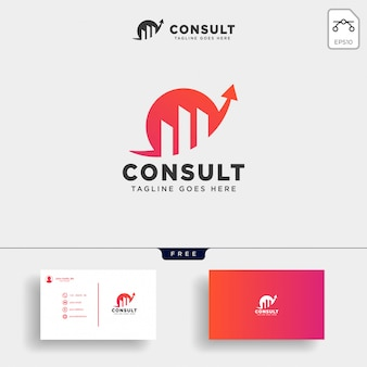 Consult stats logo template vector illustration