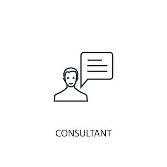 Значок линии концепции консультанта. простая иллюстрация элемента. консультант концепция наброски символ дизайн. может использоваться для веб- и мобильных ui / ux