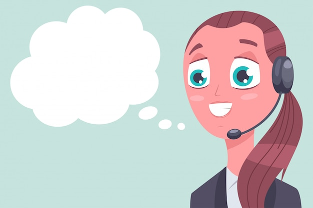 Consultant customer support with speech bubble vector cartoon character isolated on background.