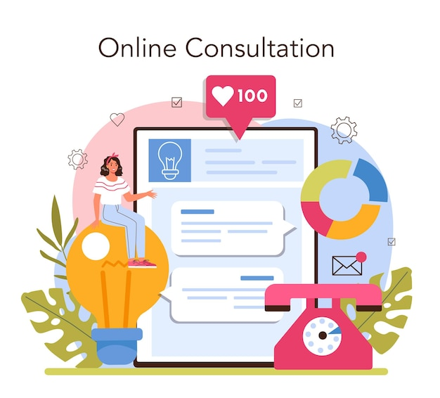 コンサルタントのオンラインサービスまたはプラットフォーム。専門家が調査を行い、解決策を提案します。戦略管理とトラブルシューティング。オンライン相談。ベクトルイラスト