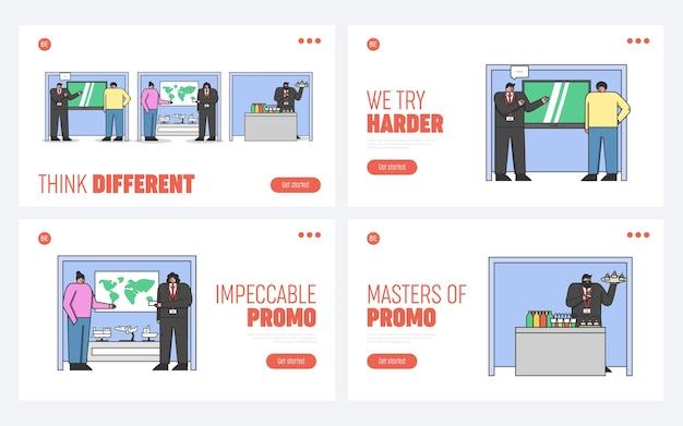 Консультанты стоят у рекламных стендов с рекламой