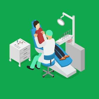 Consultation and dental treatment in cabinet interior of clinic
