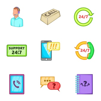 Consultation icons set, cartoon style