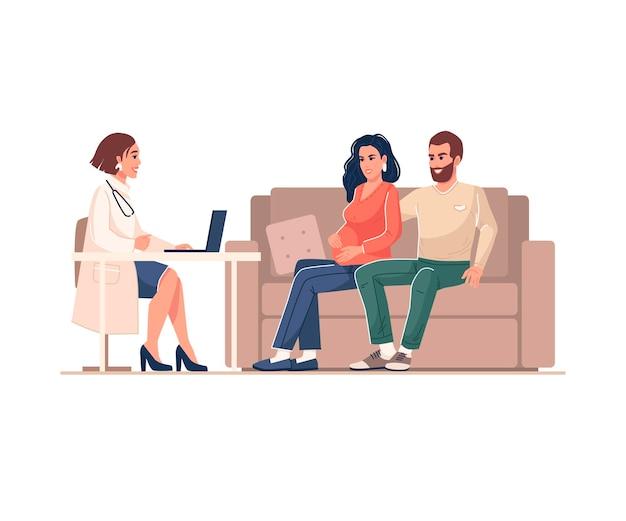 Консультация врача и беременная женщина с мужем плоский мультяшный дизайн изолированных вектор