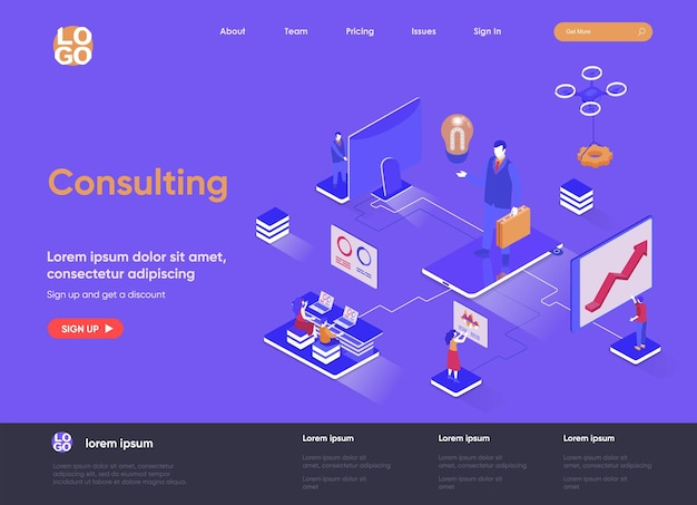 Consulting 3d isometric landing page website   illustration with people characters