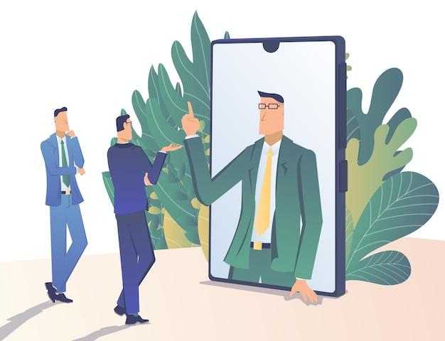 Консультации бизнесмен советует людям с экрана смартфона