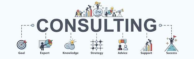 Consulting banner web icon for business.