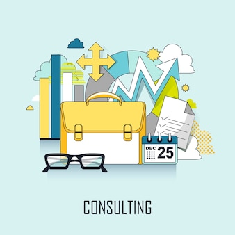 Consulting concept: business elements in flat line style
