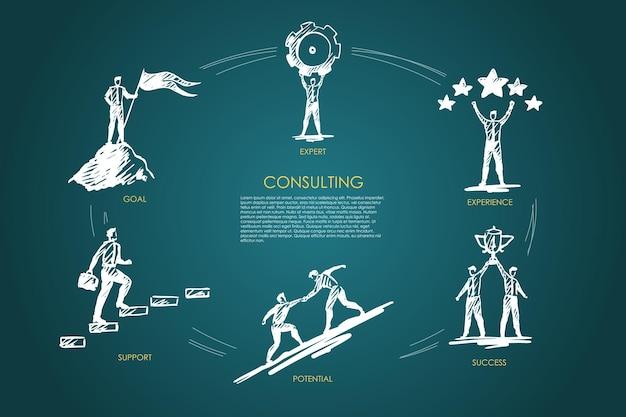 컨설팅, 전문가, 경험, 성공, 잠재력, 목표 인포 그래픽