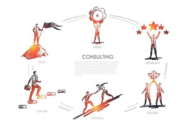 Консультации, эксперт, опыт, успех, потенциал, инфографика цели
