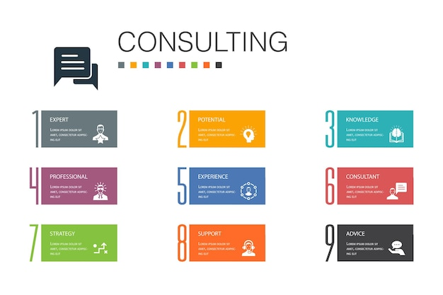 Consulting infographic 10 option line concept.expert, knowledge, experience, consultantsimple icons
