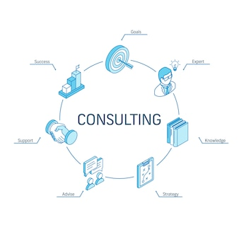 아이소 메트릭 개념 컨설팅. 연결된 라인 3d 아이콘. 통합 원 인포 그래픽 디자인 시스템. 비즈니스 전략, 컨설팅, 목표, 전문가, 성공 기호.