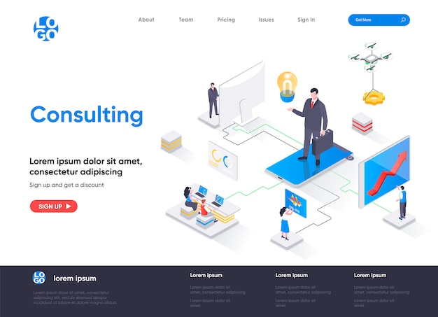 Consulting isometric landing page template