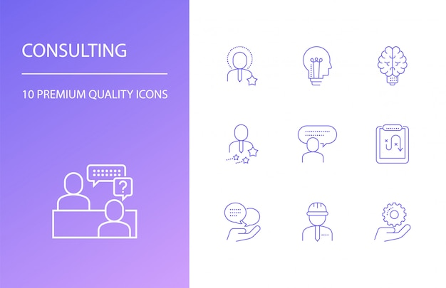 Consulting line icons set