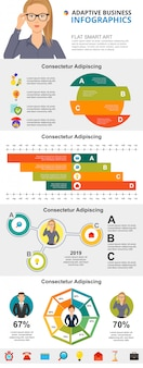 Consulting or statistics concept infographic charts set