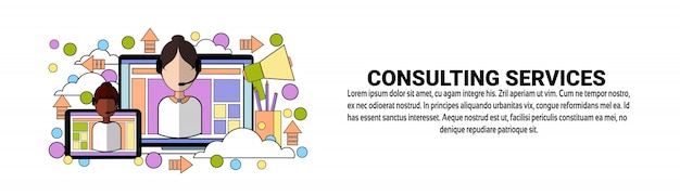 Consulting services support concept horizontal banner template
