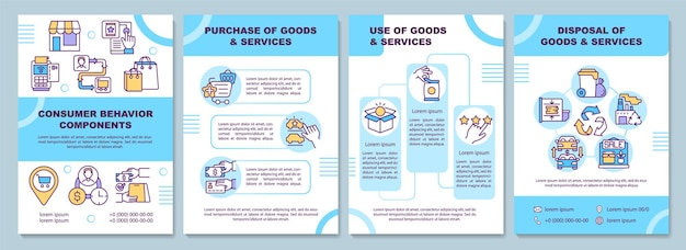 Consumer behavior components brochure template. purchase of goods