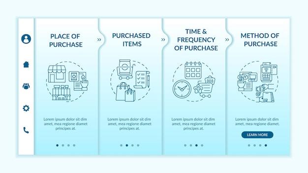 在登上传染媒介模板的消费者行为模式。响应式移动网站与图标。网页演练4步屏幕。购买方法,物品颜色概念与线性插图
