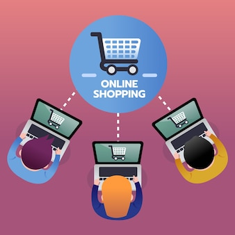 Consumer buy products from online shopping with laptop