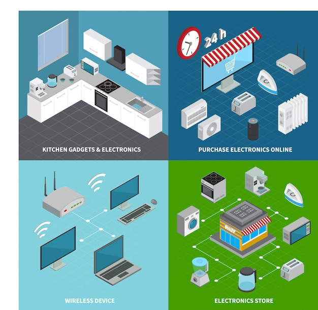 Бытовая электроника 2x2 концепция набор кухонных гаджетов беспроводных устройств и онлайн-покупки квадратные композиции изометрии