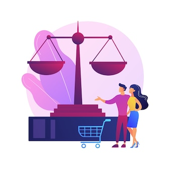 消費者法の抽象的な概念図。消費者訴訟、法的保護サービス、法律事務所、司法協定、欠陥製品の交換、購入者の権利